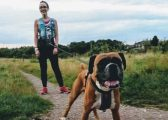 Carolyn Brooksbank with her dog Holly taking part in Red January